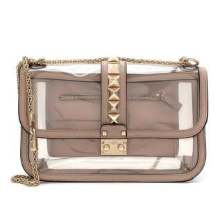 Valentino Nude Leather PVC Glam Lock Naked Rockstud Shoulder Bag