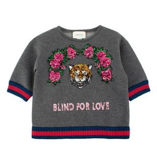 Gucci Grey Cotton Sequin Embellished Sweatshirt