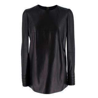 Gianfranco Ferre Black Leather Long Sleeve Top