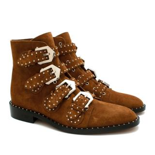 Givenchy Brown Suede Buckled Ankle Boots