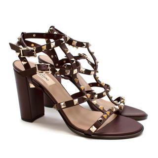 Valentino Burgundy Rockstud Block Heeled Sandals