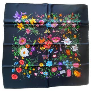 Gucci Black SIlk Floral Print Scarf