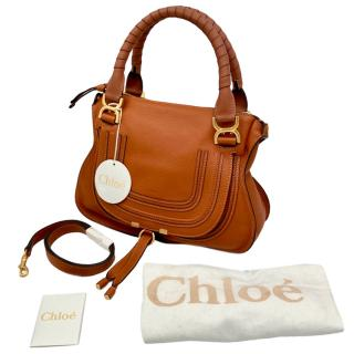 Chloe Brown Grained Leather Marcie Bag