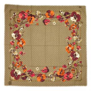 Gucci Blooms Supreme Monogram Wool Scarf