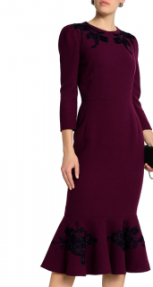 Dolce & Gabbana Embroidered Plum Fitted Midi Dress