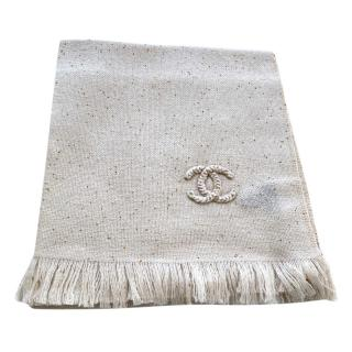 Chanel Cashmere & Silk Beige Embroidered Shawl