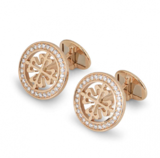 Patek Philippe Pink Gold Cufflinks with Diamonds