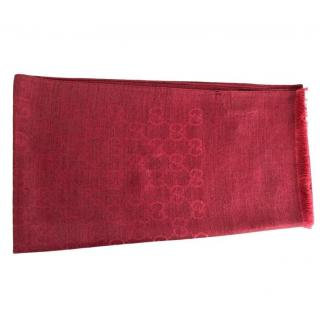 Gucci Red Monogram Wool & Silk Scarf