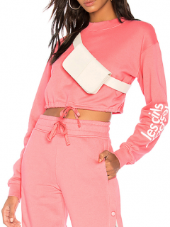 Les Girls Les Boys Cropped Drawstring Pink Sweatshirt
