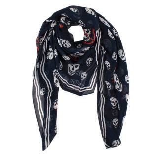 Alexander McQueen Navy Skull Print Silk Scarf