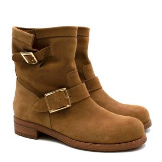Jimmy Choo Tan Suede Buckled Youth Biker Boots