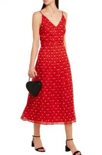 Christopher Kane Red Silk Heart Motif Strap Midi Dress