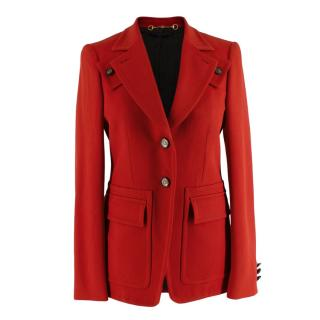 Gucci Red Wool Single Breasted Tailored Jacket