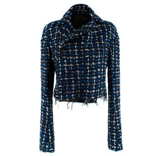 Haider Ackermann Blue & Black Boucle Cropped Jacket