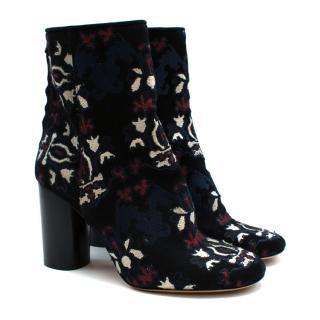 Isabel Marant Black Suede Embroidered Heeled Ankle Boots