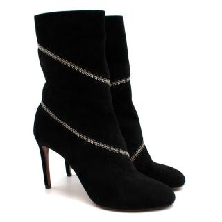 Alaia Black Suede Leather Zipped Heeled Ankle Boots