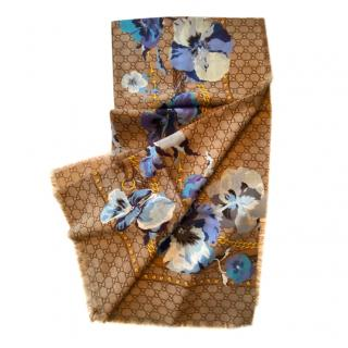 Gucci Blooms Blue Monogram Wool Scarf