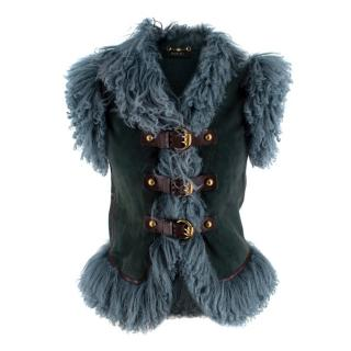 Gucci Teal Suede & Shearling Buckled Sleeveless Jacket