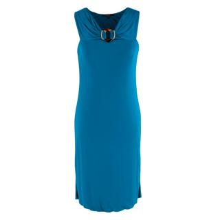 Gucci Blue Scoop Neck Buckle Detail Dress