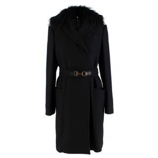 Gucci Black Cashmere & Fur Belted Longline Coat