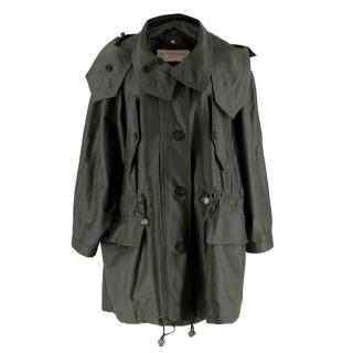 Burberry Military Green Wool-Blend Drawstring Coat