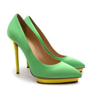 Charlotte Olympia Green Neon Satin Heart Platform Heels