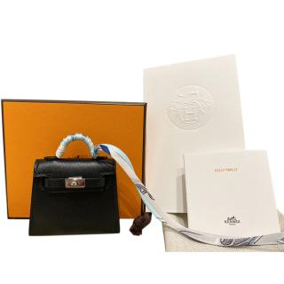 Hermes Black Leather Kelly Twilly Bag Charm