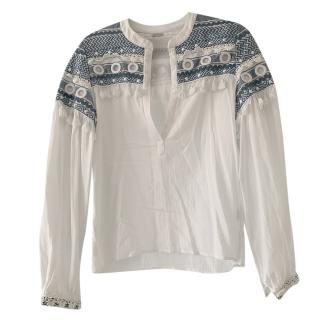 Dodo Bar Or Embroidered White & Blue Blouse