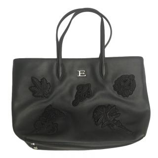 Ermanno Scervino Black Embroidered Tote Bag