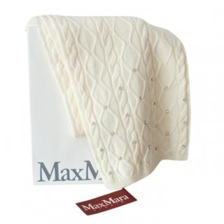 Max Mara Embellished Ivory Cable Knit Scarf