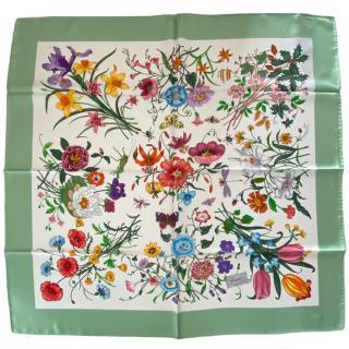 Gucci White/Green Floral Print Scarf