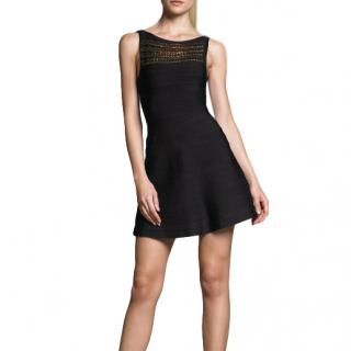 Herve Leger Black Knit Sleeveless Mini Dress with Chain