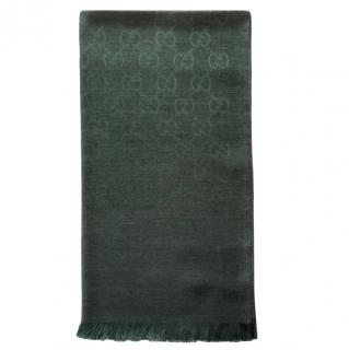 Gucci Bottle Green Monogram Wool & Silk Shawl