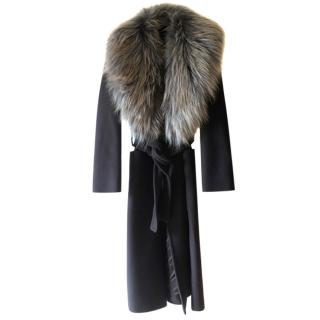 Max Mara Wool Coat with Detachable Faux Fur Collar