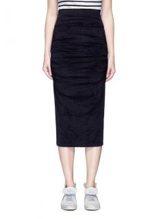 James Perse Black Ruched Velvet Midi Skirt