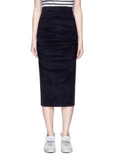 James Perse Black Ruched Velvet Midi Skirt