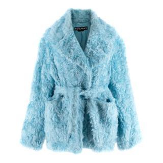 Rochas Blue Faux Fur Belted Coat