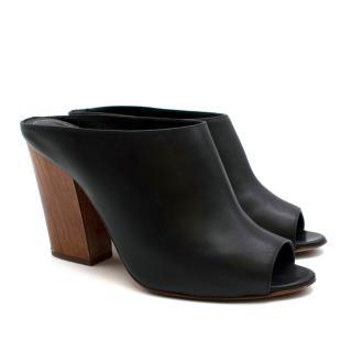 Sergio Rossi Black Leather Peep Toe Block Heel Mules