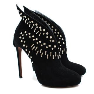 Alaia Black Studded Suede Heeled Ankle Boots