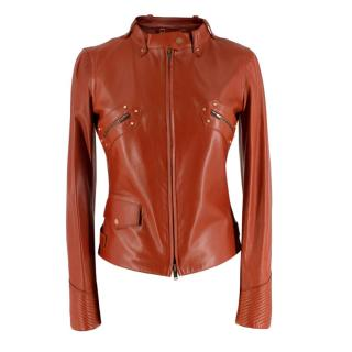 Gucci Rust Leather Studded Biker Jacket