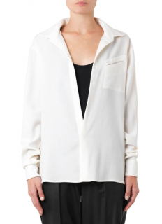 Baja East Cream Wool-Crepe Point Collar Blouse