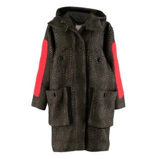 Roksanda Ilincic Black & Brown Chevron Hooded Coat