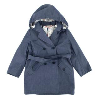 Bonpoint Navy Hooded Trench Coat with Belt