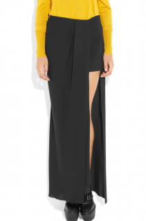 Acne Black Crepe Modern Cut-Out Maxi Skirt