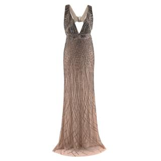 Roberto Cavalli Nude Gown with Gold Beading