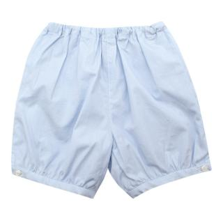 Bonpoint Baby Blue Cotton Ruffled Shorts