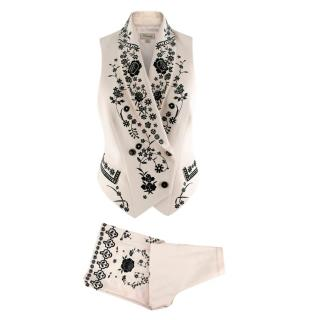 Temperley Ivory Floral Embroidered Waistcoat & Culottes