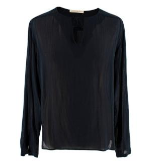 Balenciaga Black Sheer Pussybow Blouse