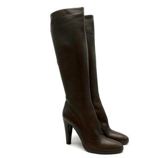 Prada Espresso Leather Heeled Knee-Length Boots