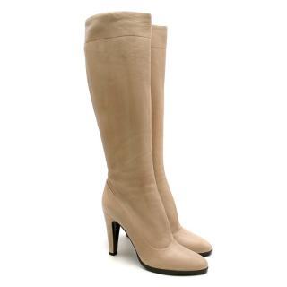 Prada Beige Leather Heeled Knee-Length Boots